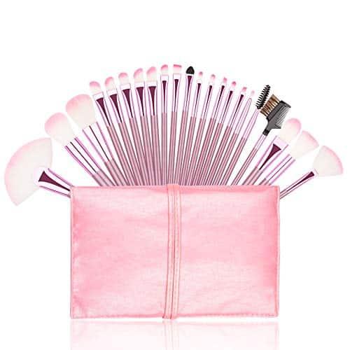 Pincéis de maquiagem, Conjunto de pincéis de maquiagem rosa premium 22pcs Foundation Kabuki Blush Fan Sombra Brushes Compatible with Cosmetic Case