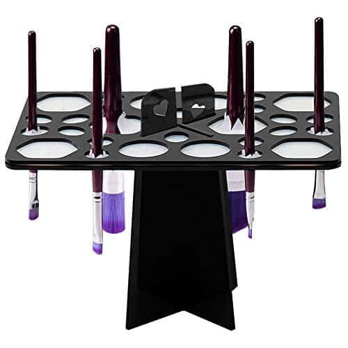 BEAKEY Maquiagem Escova de secagem Rack de ar Árvore Torre Organizador Suporte de escova dobrável Ferramentas de prateleira de cosméticos [Updated Version]Tamanho da mistura de 28 furos, preto