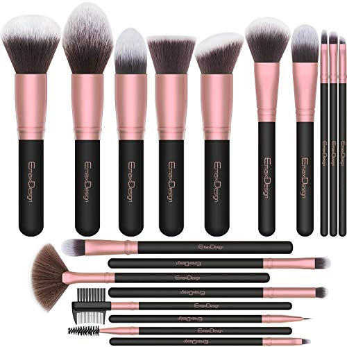 Pincéis de maquiagem EmaxDesign, 18 Pcs Conjunto de pincéis de maquiagem profissional Escova sintética premium Foundation Blush Concealer Blending Powder Liquid Cream Creme facial Escovas Kit (Rosa de ouro)