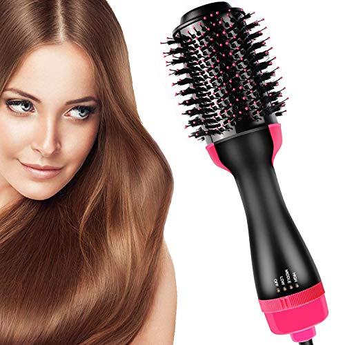 Escova de secador de cabelo e escova de ar quente, escova de cabelo Bvser Air 3 em 1 volumizador de secador de cabelo elétrico de uma etapa com escova de secador de ondulação de íon negativo Styler, escova de alisamento de cabelo, escova rotativa de secador de cabelo