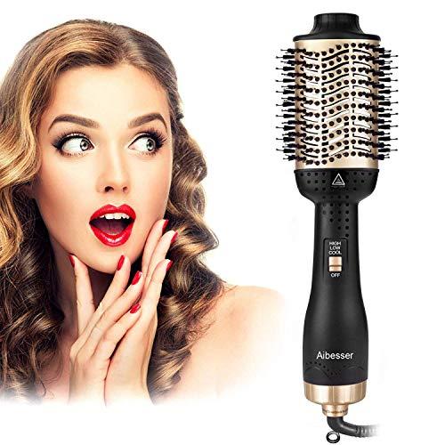 Aibesser One-Step Hair Dryer & Volumizer Brush Air Styler Brush, 5 em 1 escova multifuncional para secadores de cabelo com íon negativo profissional, reduz o frizz e a escova estática para modelagem de secador de cabelo