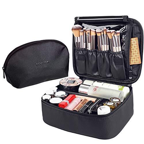Kootek Bolsa de maquiagem de viagem de 2 pacotes - Estojo de trem de maquiagem PU e bolsa cosmética acessível Organizador de produtos de higiene pessoal portátil com divisores ajustáveis para ferramentas de maquiagem Cosméticos Jóias Acessórios digitais