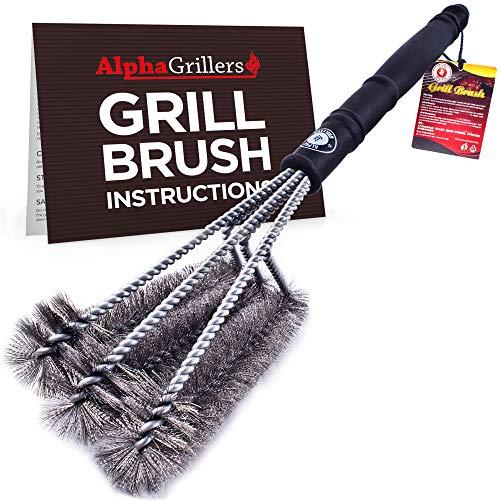 """Alpha Grillers 18 """"Grill Brush. Melhor limpador de churrasco. Seguro para todas as churrasqueiras. Durável e eficaz. Cerdas de fio de aço inoxidável e alça rígida. A para amantes de churrasco."""