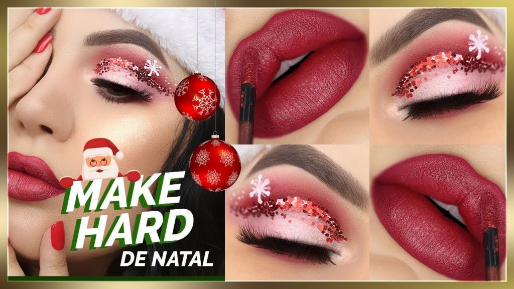 Fiz uma MAQUIAGEM BEM LOUCA para o NATAL - Christmas Makeup Tutorial