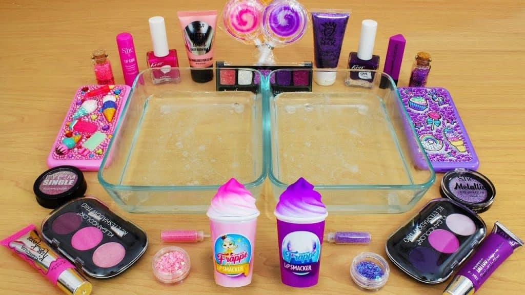 Pink vs Purple - Mistura de sombra para maquiagem no Slime! Série Especial 83 Vídeo de Slime Satisfatório