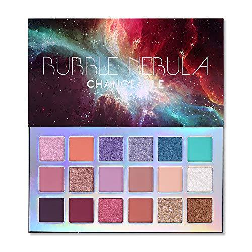 Paleta de maquiagem com sombra de nebulosa de 18 cores, Alta pigmentação Shimmer Matte Glitter Multi reflexivo Cremoso Misturável Misturável de longa duração Sombra de olhos vibrante compõe conjunto de paletes