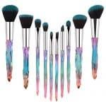 Pincéis de maquiagem Alça de cristal, 10pcs Diamante colorido profissional Conjunto de pincéis cosméticos para Kabuki Concealer Sombra em pó Sombra para os olhos Destaque Kit de pincéis de unicórnio azul para maquiagem