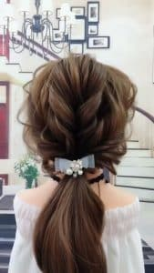 Fashionable curly braided ponytail hairstyle😍😍