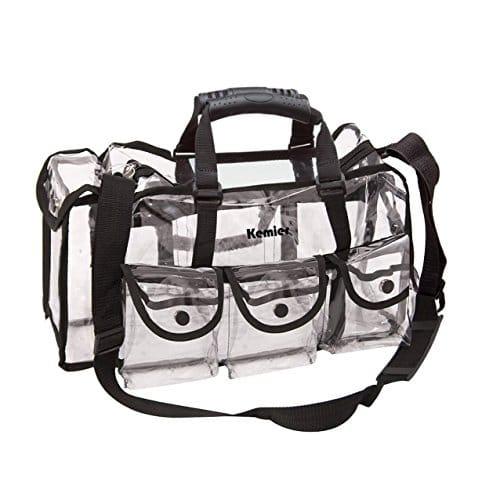 Kemier Clear Travel Makeup Bag com 6 bolsos externos, estojo de cosméticos com alça, grande