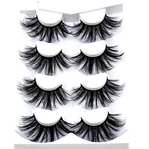 HBZGTLAD NOVO 4 Pares 3D Vison Cabelo Cílios Postiços Cruzam Wispy Cross Fofo comprimento 25mm Extensão dos cílios Ferramentas Artesanais de Maquiagem dos Olhos (MDR-1)