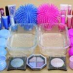 Bright BLUE vs PINK SLIME Misturando maquiagem e glitter em Clear Slime Satisfying Slime Videos