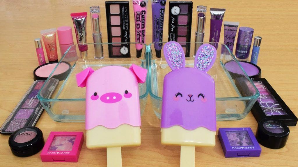 Pink vs Purple - Mistura de sombra para maquiagem no Slime Special Series 194 - Satisfying Slime Video