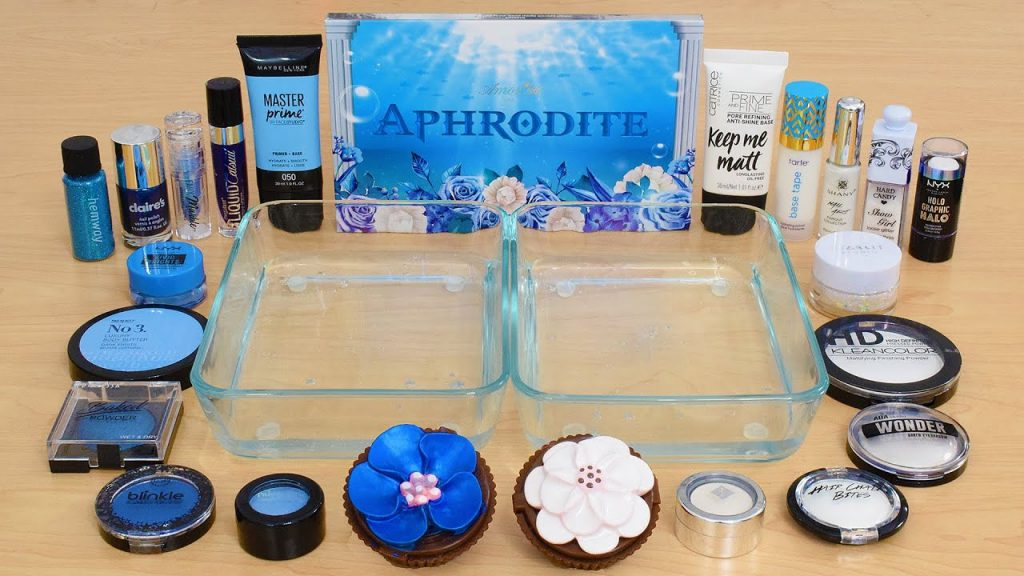Blue vs White - Mistura de sombra para maquiagem no Slime ASMR 392 Satisfying Slime Video