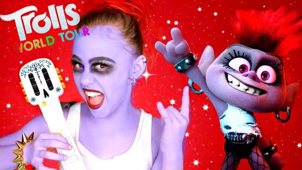 Trolls 2 Barb Rockstar Maquiagem e Traje