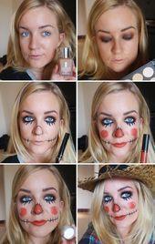 Espantalho de maquiagem de Halloween, beleza, blog - novas idéias #Blog #Halloween # ...